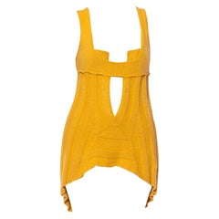 1970S PACO RABANNE Attributed Mustard Yellow Cashmere Blend Knit Sexy Cut-Out D