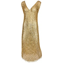 1970s Paco Rabanne Gold Chain Maxi  Dress