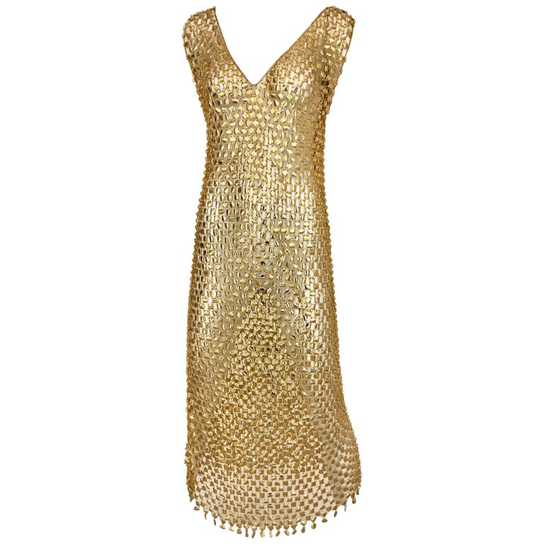 1970s Paco Rabanne Gold Chain Maxi  Dress                  For Sale