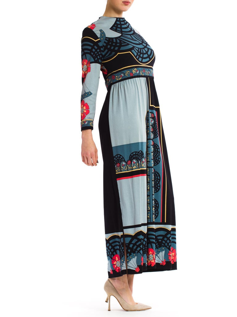1970S PAGANNE Polyester Geometric Boho Printed Maxi Dress In Excellent Condition In New York, NY
