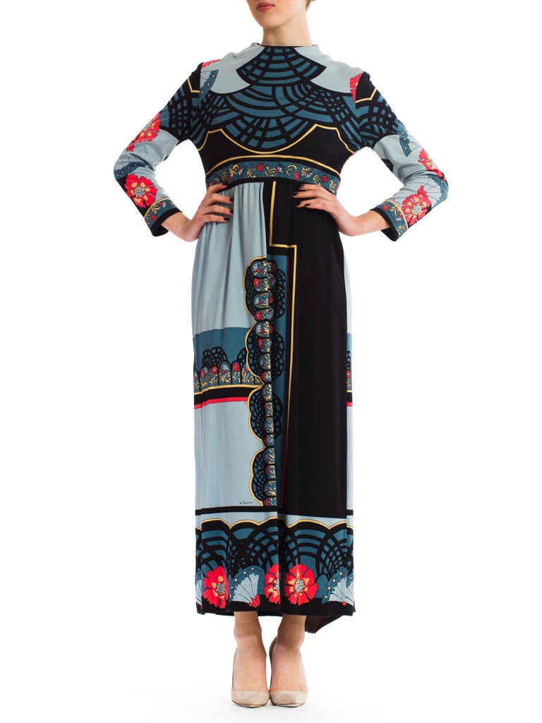 Women's 1970S PAGANNE Polyester Geometric Boho Printed Maxi Dress