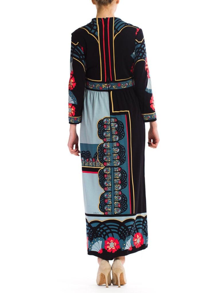 1970S PAGANNE Polyester Geometric Boho Printed Maxi Dress 1