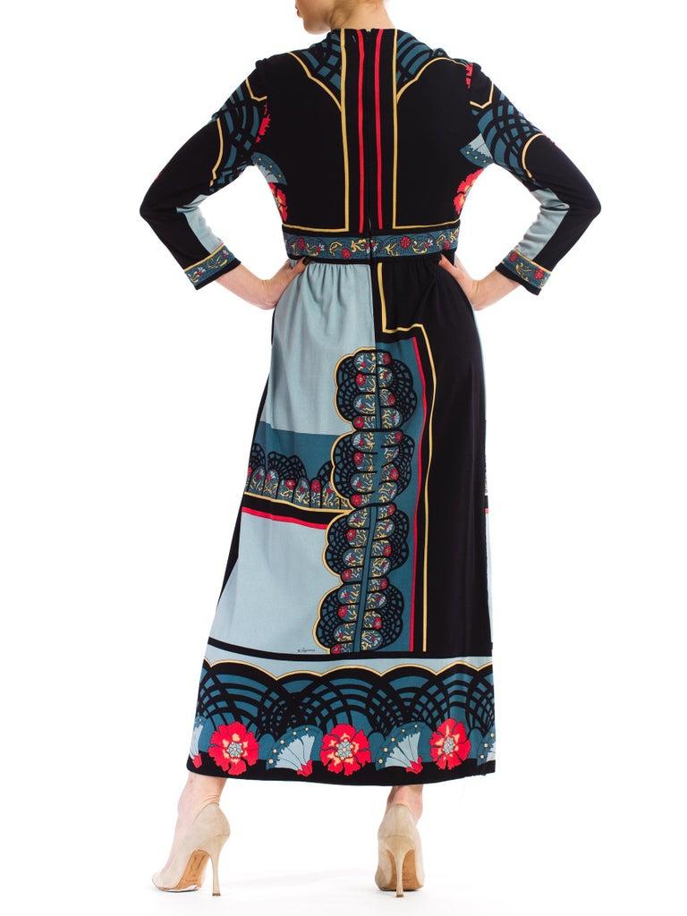 1970S PAGANNE Polyester Geometric Boho Printed Maxi Dress 2
