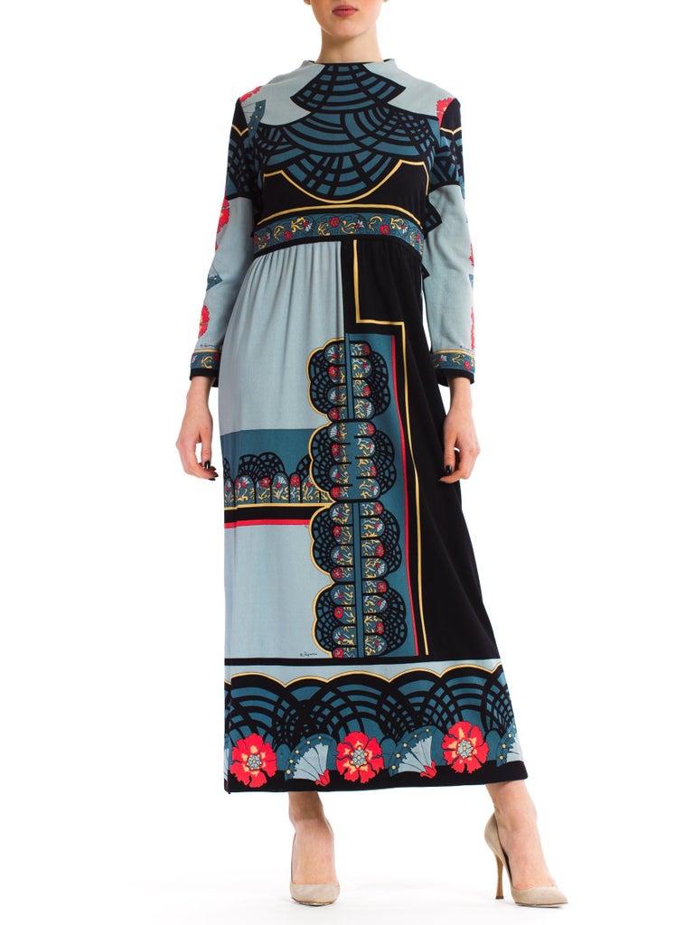 1970S PAGANNE Polyester Geometric Boho Printed Maxi Dress 3