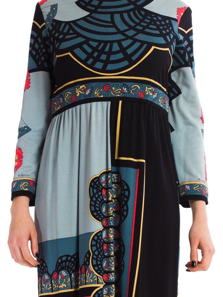 1970S PAGANNE Polyester Geometric Boho Printed Maxi Dress 4