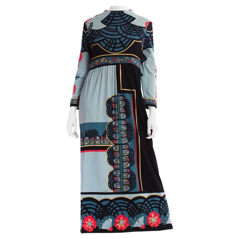 1970S PAGANNE Polyester Geometric Boho Printed Maxi Dress