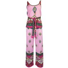 1970s Paganne Pretty Pink Print Jersey Tank Top & Pant Set