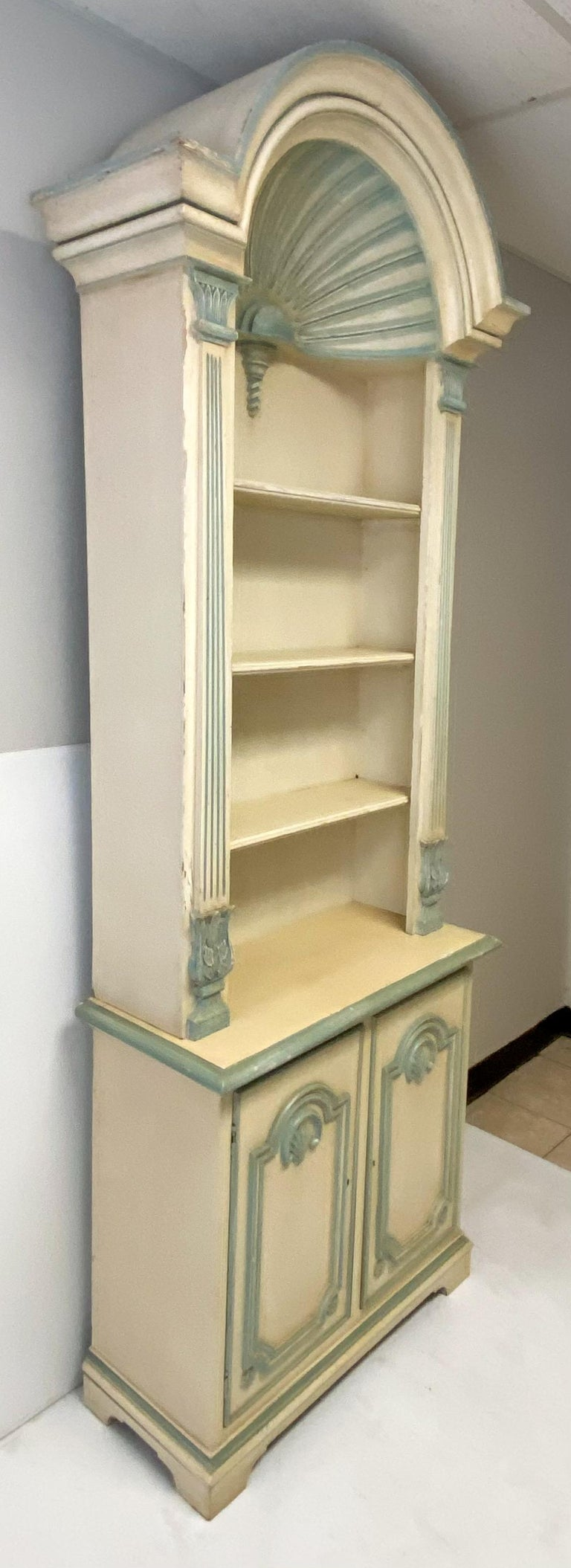American 1970s Painted Grotto Inspired Carved Pine Shell Bookcases / Cabinets, a Pair For Sale