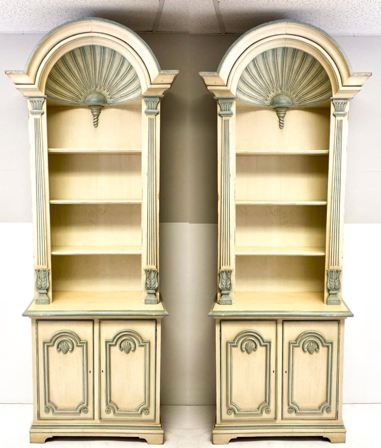 20th Century 1970s Painted Grotto Inspired Carved Pine Shell Bookcases / Cabinets, a Pair For Sale