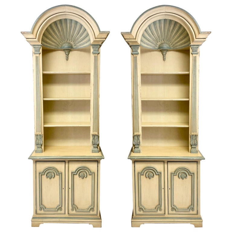 1970s Painted Grotto Inspired Carved Pine Shell Bookcases / Cabinets, a Pair For Sale