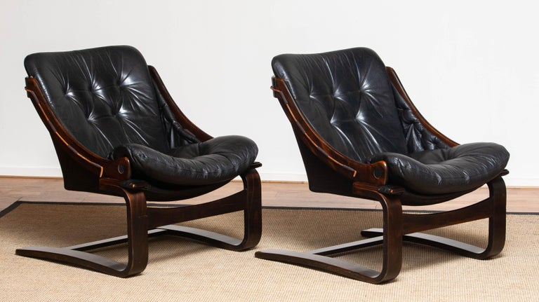 1970's Pair Black Leather Club / Lounge Chairs by Ake Fribytter for Nelo Sweden 4
