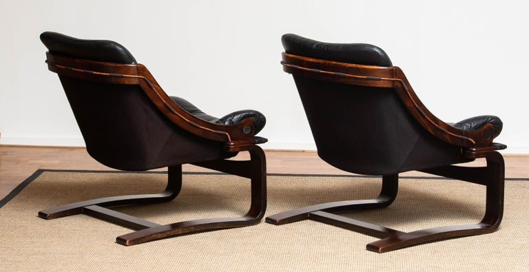 1970's Pair Black Leather Club / Lounge Chairs by Ake Fribytter for Nelo Sweden 5