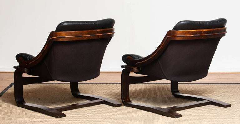 1970's Pair Black Leather Club / Lounge Chairs by Ake Fribytter for Nelo Sweden 6