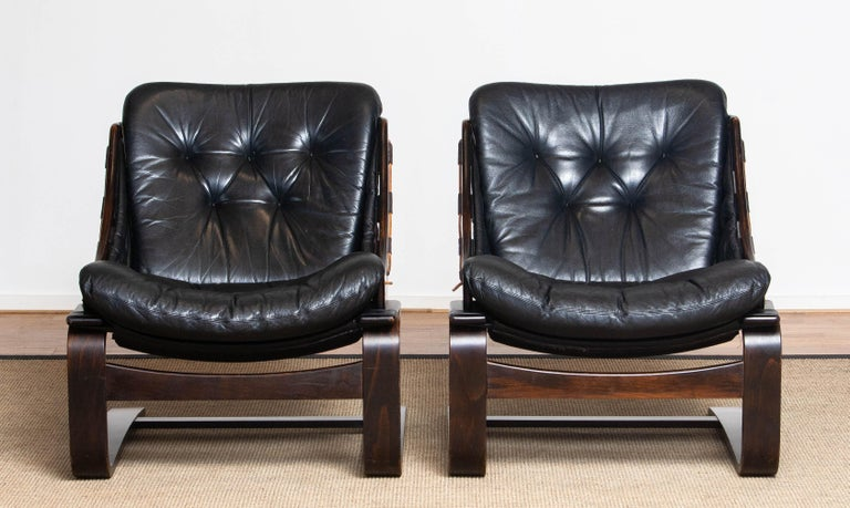 1970's Pair Black Leather Club / Lounge Chairs by Ake Fribytter for Nelo Sweden 7
