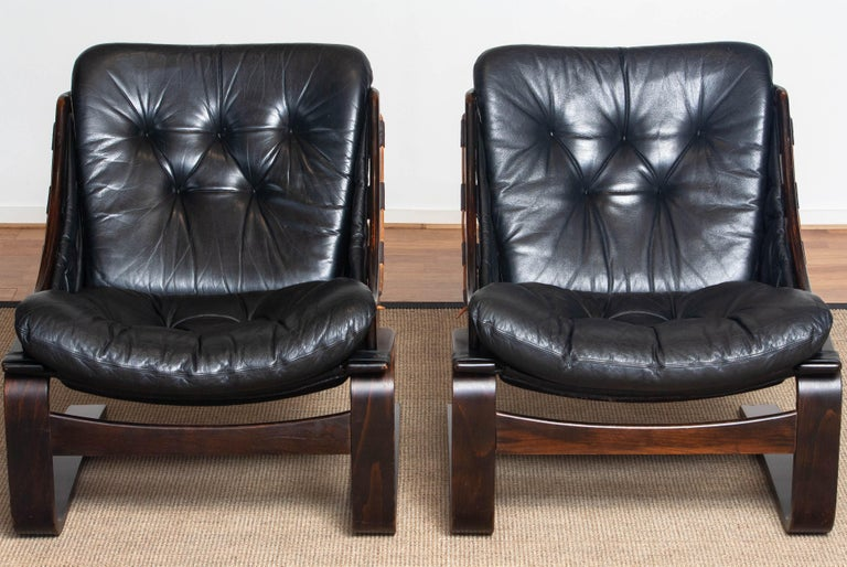 1970's Pair Black Leather Club / Lounge Chairs by Ake Fribytter for Nelo Sweden 8