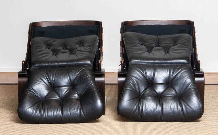 1970's Pair Black Leather Club / Lounge Chairs by Ake Fribytter for Nelo Sweden 9