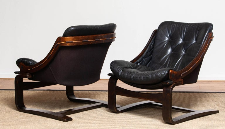 Scandinavian Modern 1970's Pair Black Leather Club / Lounge Chairs by Ake Fribytter for Nelo Sweden