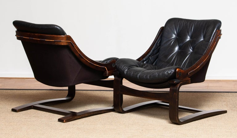 Swedish 1970's Pair Black Leather Club / Lounge Chairs by Ake Fribytter for Nelo Sweden