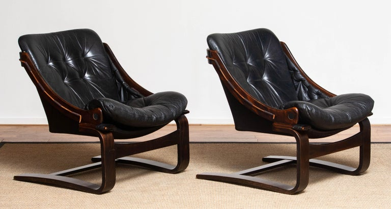 1970's Pair Black Leather Club / Lounge Chairs by Ake Fribytter for Nelo Sweden 1