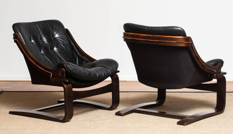 1970's Pair Black Leather Club / Lounge Chairs by Ake Fribytter for Nelo Sweden 2