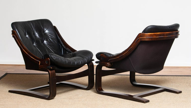 1970's Pair Black Leather Club / Lounge Chairs by Ake Fribytter for Nelo Sweden 3