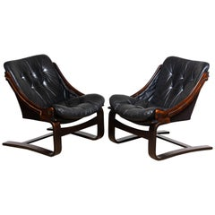 1970's Pair Black Leather Club / Lounge Chairs by Ake Fribytter for Nelo Sweden