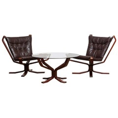 1970s, Pair Brown Leather 'Falcon' Chairs and Coffee Table by Sigurd Resell