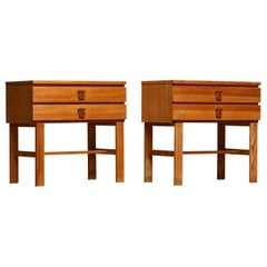 1970s, Pair of Nightstands or Bedside Tables in Pine by Sigurd Göransson Sweden