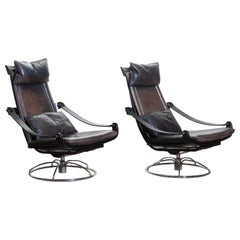 1970s, Pair of Artistic Leather Swivel Chairs by Ake Fribytter for Nelo Sweden