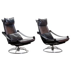 1970s, Pair of Artistic Leather Swivel Chairs by Ake Fribytter for Nelo, Sweden