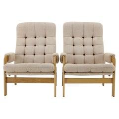 1970s Pair of Beech High Back Armchairs, Czechoslovakia
