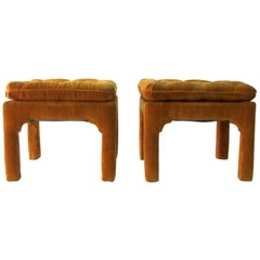 1970s Pair of Billy Baldwin Hollywood Regency Poufs / Stools / Ottomans