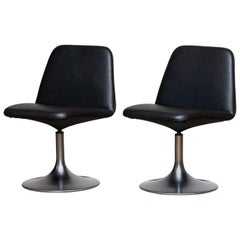 "1970s Pair of Black ""Vinga"" Swivel or Slipper Chairs by Johanson Design Markaryd"