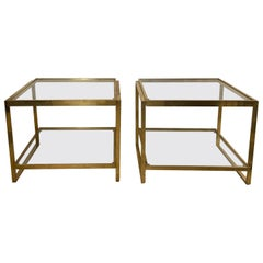 1970s Pair of Brass Side Tables with Glass Tops