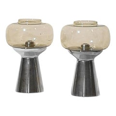1970s Pair of Candleholders, Metal, Smoked Glass, Springs, Western Germany