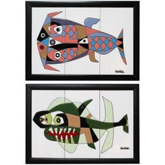 1970s Pair of César Manrique Fish Abstract Tile Paintings