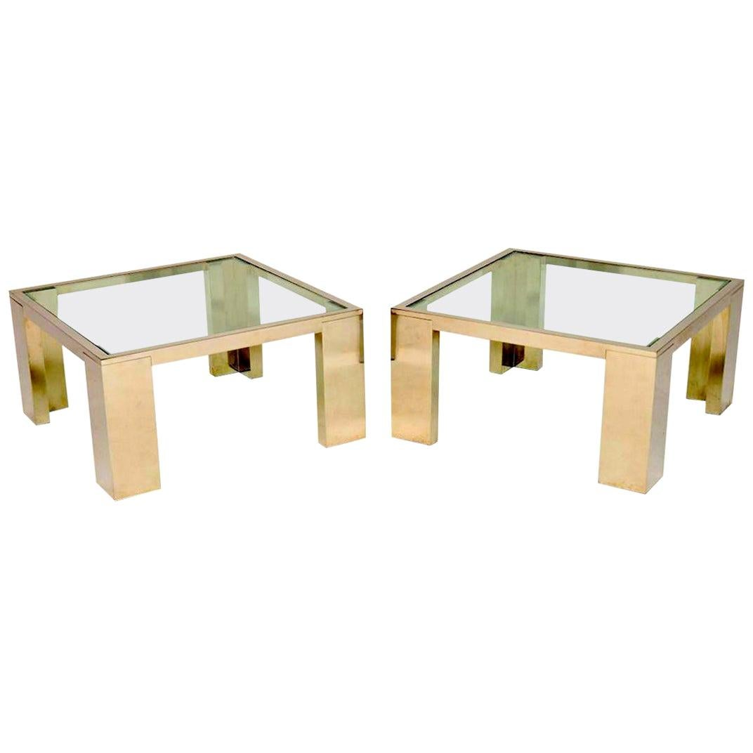1970s Pair of Chrome and Glass Side or Coffee Tables