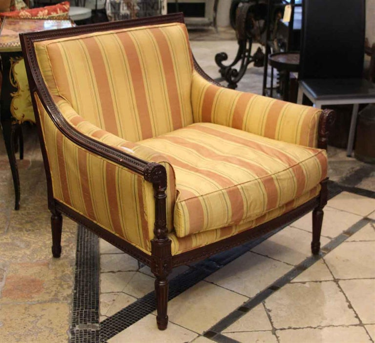 American 1970s Pair of Colorful Striped Chairs with a Carved Decorative Wooden Frame For Sale