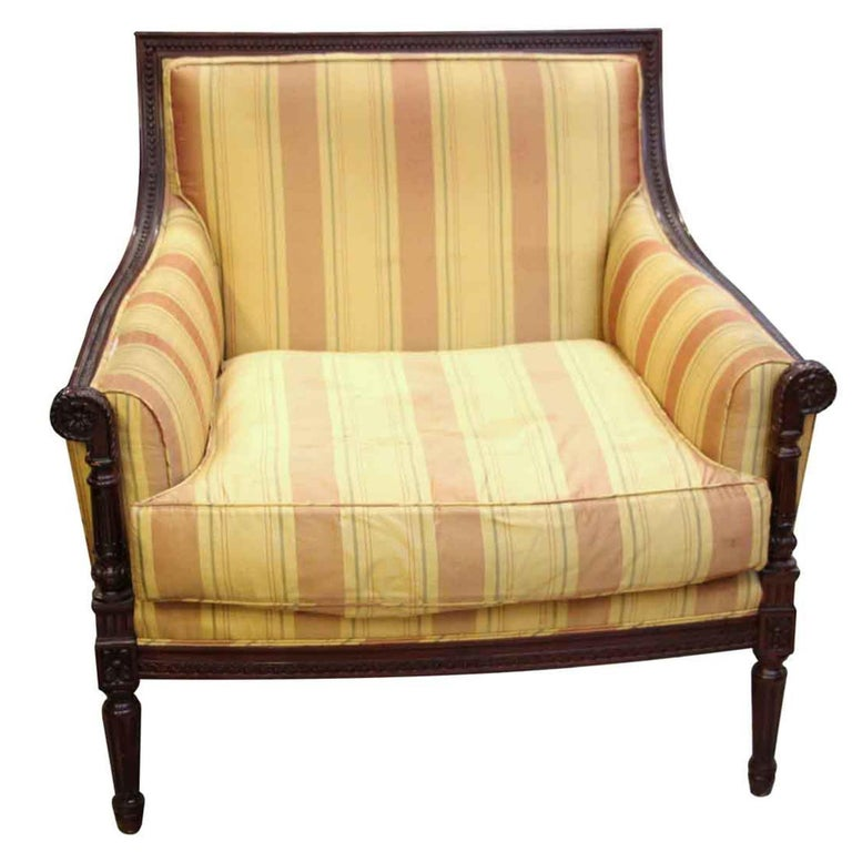 1970s Pair of Colorful Striped Chairs with a Carved Decorative Wooden Frame For Sale