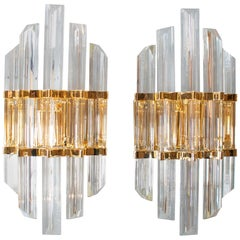 1970s Pair of Crystal and Bronze Wall-Lamps