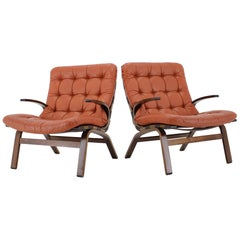 1970s Pair of Danish Bentwood Armchair in Red Leather