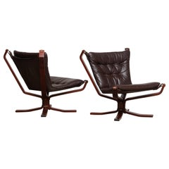 1970s Pair of Dark Brown Leather 'Falcon' Chairs, Sigurd Resell Made in Denmark
