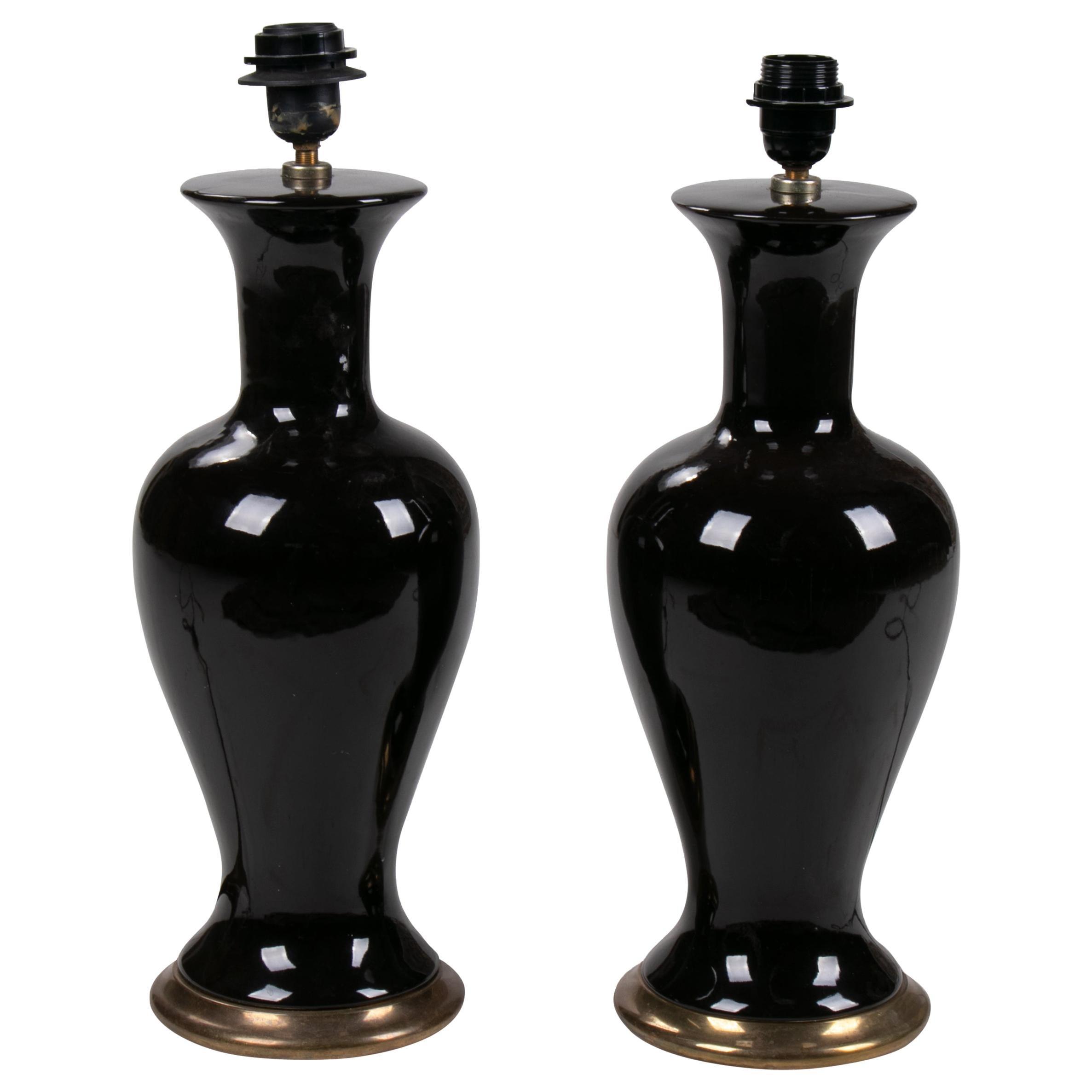 1970s Pair of English Black Ceramic Table Lamps