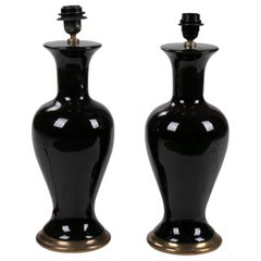 1970s Pair of English Black Ceramic Table Lamps