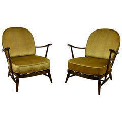 1970s Pair of Ercol Windsor Armchairs with new Cushions in Gold Pistoia Velvet