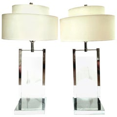 1970s Pair of Etched Lucite and Chrome Table Lamps by, George Kovacs