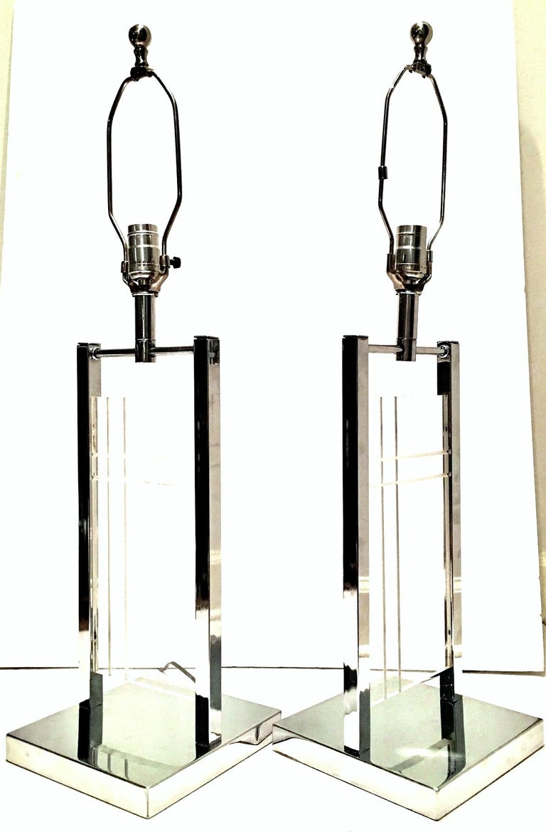 Modern 1970'S Pair of Etched Lucite & Chrome Table Lamps By, George Kovacs For Sale