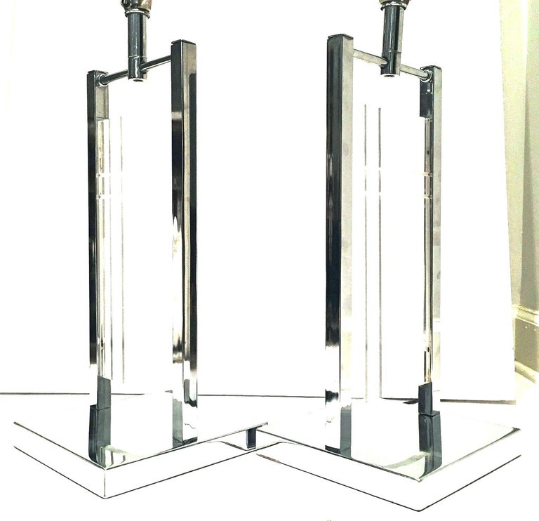 American 1970'S Pair of Etched Lucite & Chrome Table Lamps By, George Kovacs For Sale
