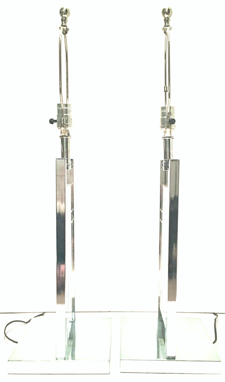 1970'S Pair of Etched Lucite & Chrome Table Lamps By, George Kovacs In Good Condition For Sale In West Palm Beach, FL