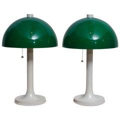 1970s, Pair of Fiberglass Table or Desk Lamps by Falkenbergs Belysning, Sweden